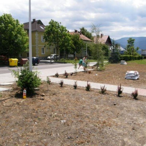 Výsadba zelene na autobusovej zastávke (2009)